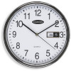 Carven Wall Clock 28.5cm Diameter With Date Silver Frame