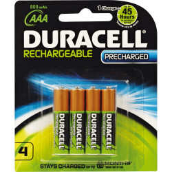 Duracell Rechargeable Battery AAA Precharged Pack of 4